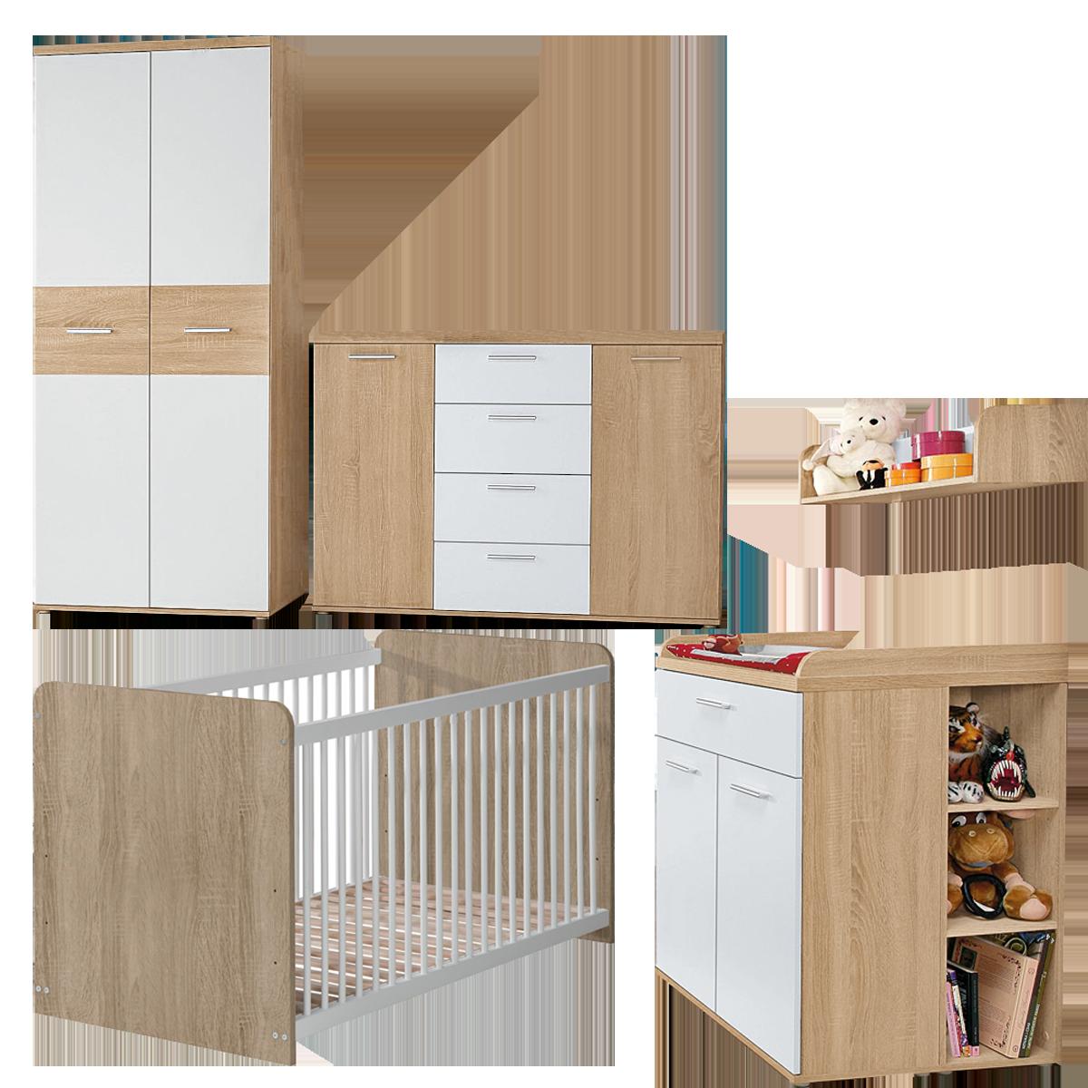 Forte Winnie Babyzimmer 7 Teilig Gitterbett Kleiderschrank Kommode