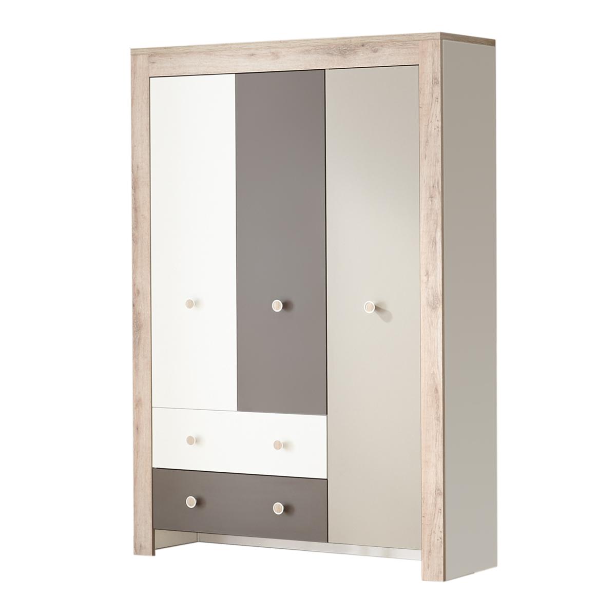 Mäusbacher Bea Kleiderschrank 0447_KS_32 mit 3 Türen und 2 Schubkästen für  Ihr Kinderzimmer oder Babyzimmer Schrank im Dekor Weiß matt Lack mit ...