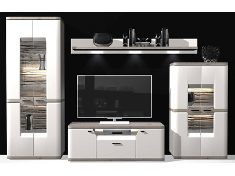 IDEAL-Möbel Wohnkombination 16 Toronto Wohnwand mit Vitrine ...