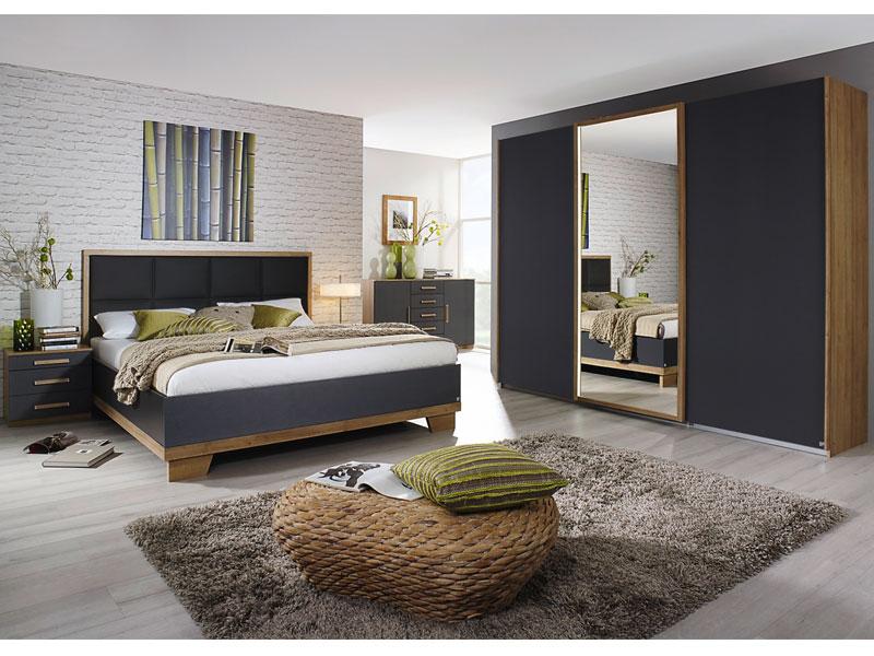 Rauch Packs Altona Schlafzimmer 4-teilig bestehend aus Bett inklusive  Polsterkopfteil in Lederoptik mit 2 Nachttischen und 3-türigem ...
