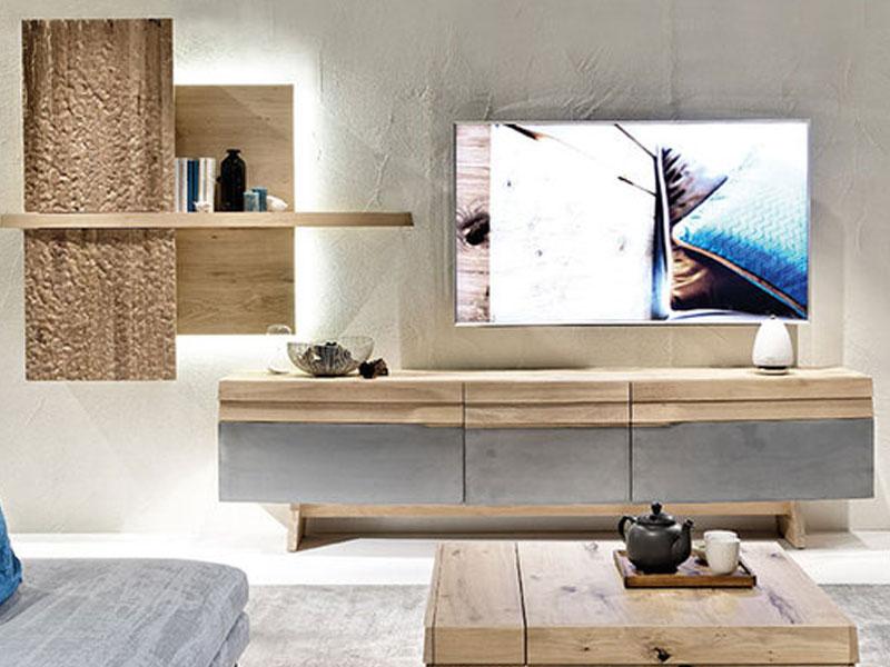 Voglauer V-Organo Wohnwand OV304-L-E zweiteilige Kombination in Wildeiche  rustiko schwarz mit Hängeelement und Lowboard für Wohnzimmer Beleuchtung ...