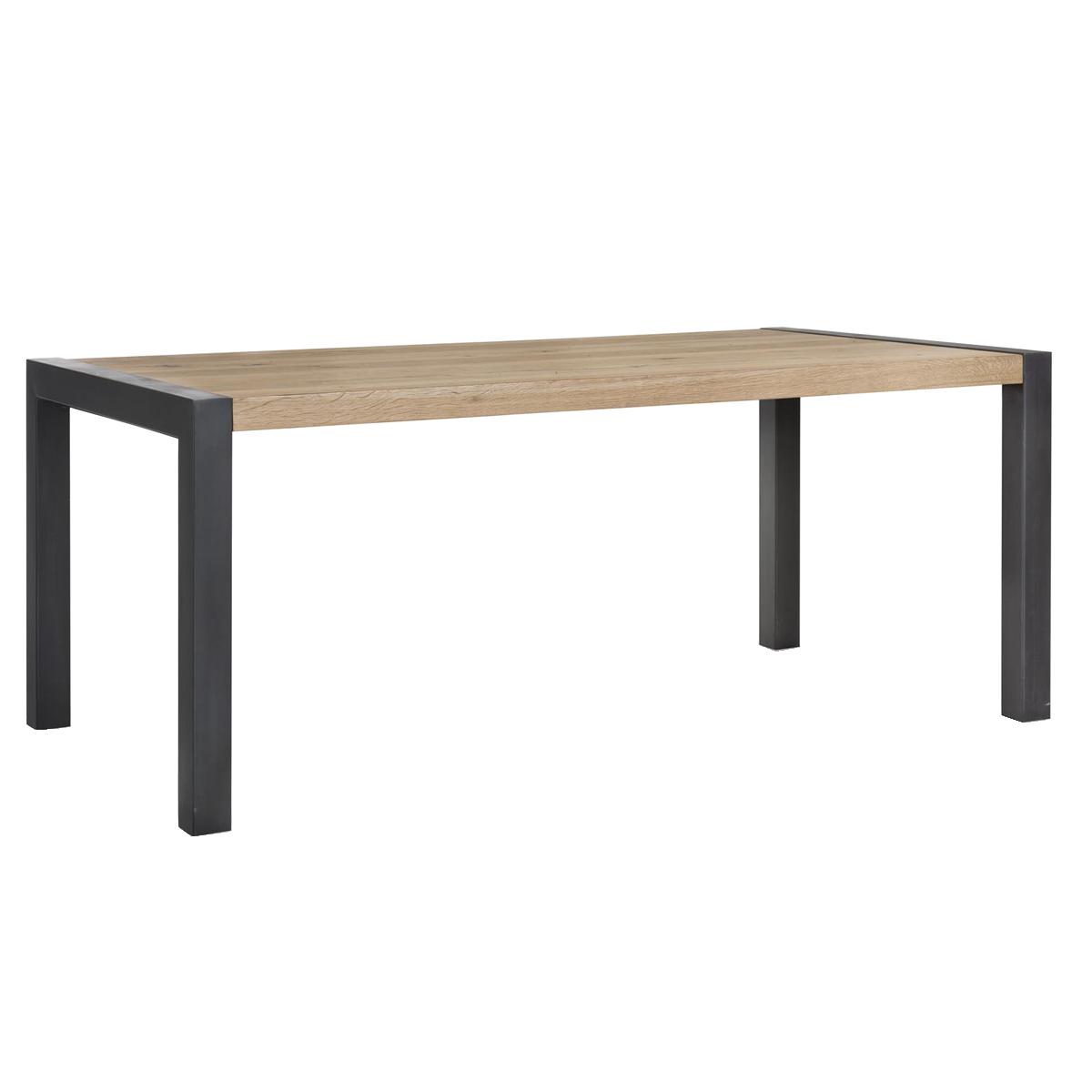 Habufa Brooklyn Esstisch ca. 48 cm breit Tischplatte in Eiche furniert  Metallbeine schwarz im Industrie Stil
