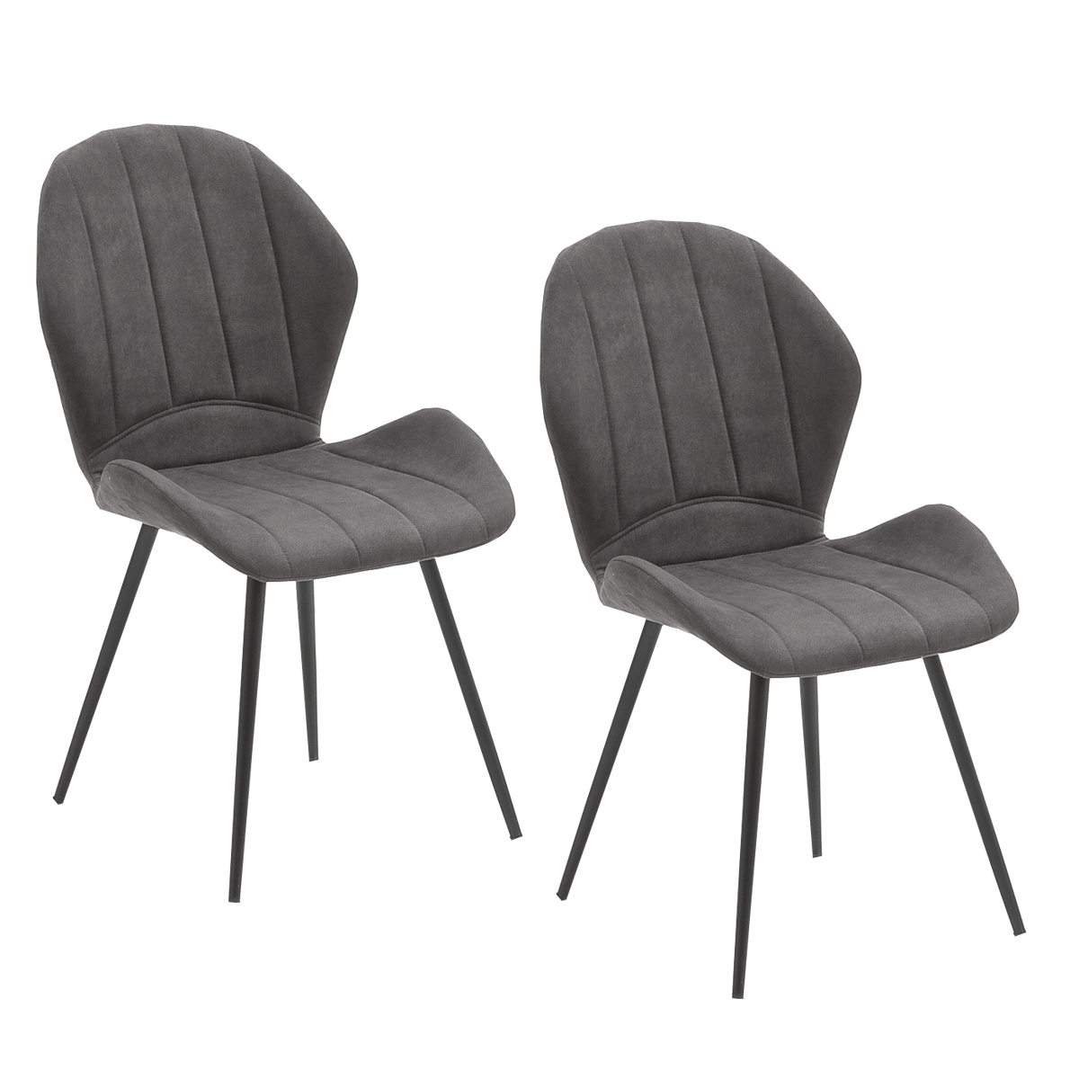 2er Set Mca Furniture Stuhl Lima Bezug In Mikrofaser Antik Anthrazit Und Schwarz Lackierten Metallfussen Konisch Ideal Fur Ihr Esszimmer