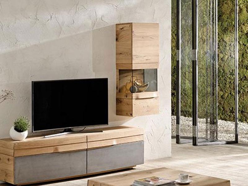 Voglauer V-Organo Wohnwand OV112-R-E zweiteilige Kombination in Wildeiche  rustiko schwarz mit Lowboard und Hängevitrine für Wohnzimmer Beleuchtung ...