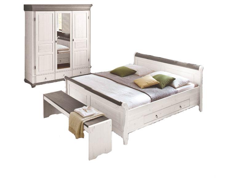 Euro Diffusion Oslo Schlafzimmer 2-teilig Bett mit 2 Schubkästen und ...