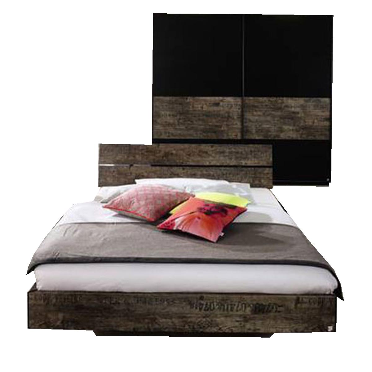Rauch Select Sumatra Schlafzimmer bestehend aus Bett 180x200 cm und  Schwebetürenschrank 2-türig Farbausführung in Vintage-Optik