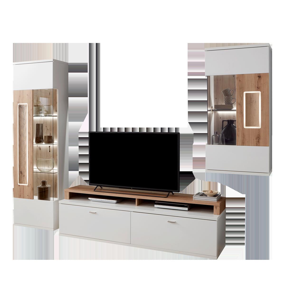 Ideal-Möbel Falan Wohnkombination 41 für Ihr Wohnzimmer moderne 4-teilige  Wohnwand mit Standvitrine Lowboard Hängevitrine und Wandboard Korpus in  Weiß ...
