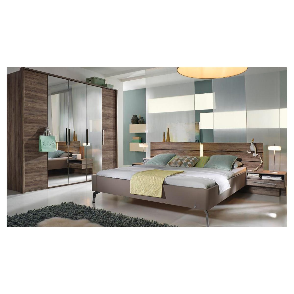 Rauch Steffen Manila 4-teiliges Schlafzimmer bestehend aus Futonbett  inklusive Kopfteilbeleuchtung Hänge- Nachtkommoden mit 1 Schubkasten und 5-  ...