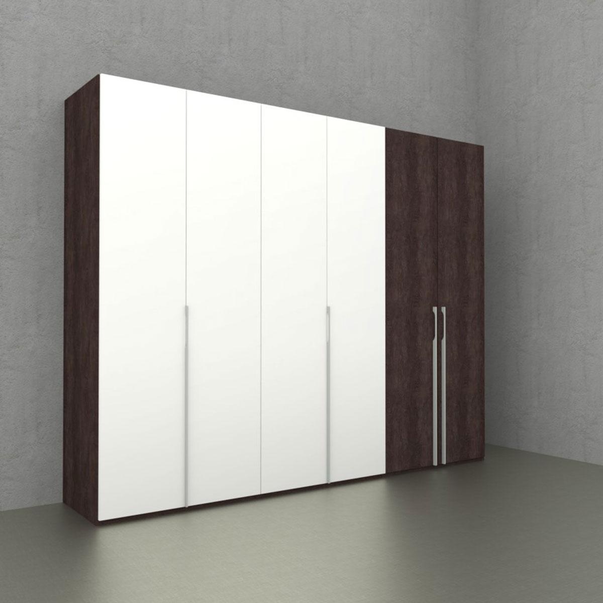 Nolte Möbel Concept Me 100 Kleiderschrank 6-türig Kombination aus  Falttüren- und Drehtüren - Front Mix aus Dekor Eiche-Nachbildung dark  chocolate und ...