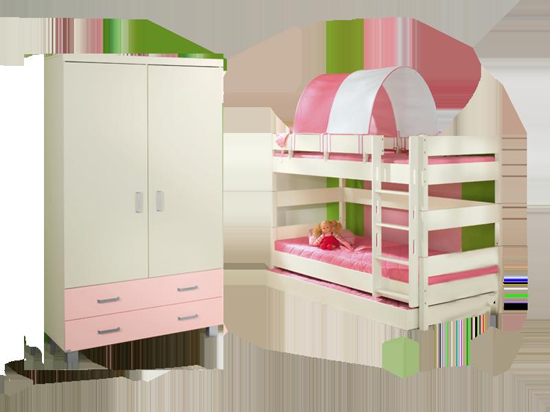 Paidi Biancomo Kinderzimmer Bestehend Aus Kleiderschrank 2 Turig Mit Absetzung RoseEtagenbett 155