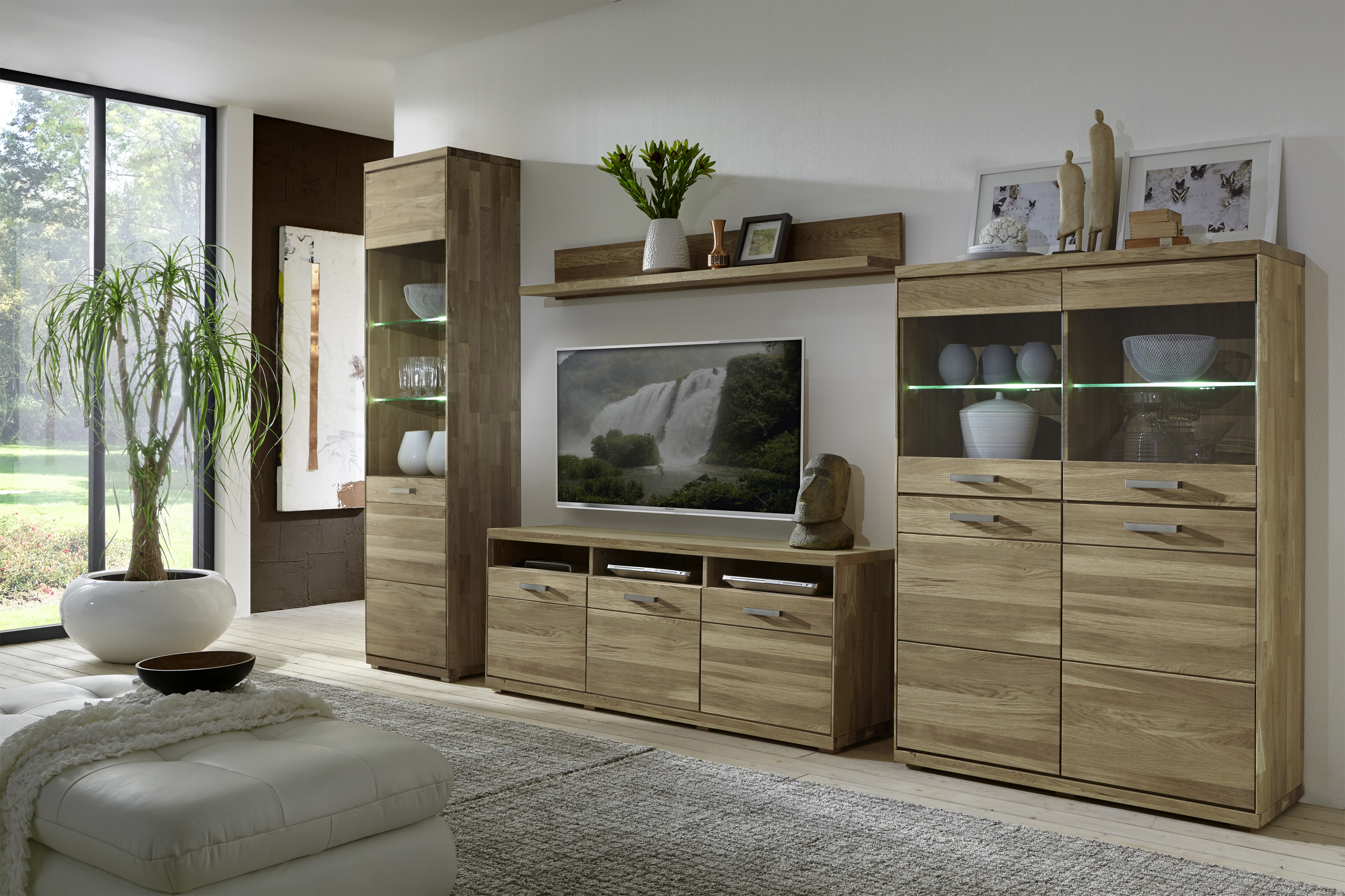 elfo wohnwand mia wildeiche oder kernbuche massivholz geolt kombination aus tv unterteil 2 vitrinen wandboard