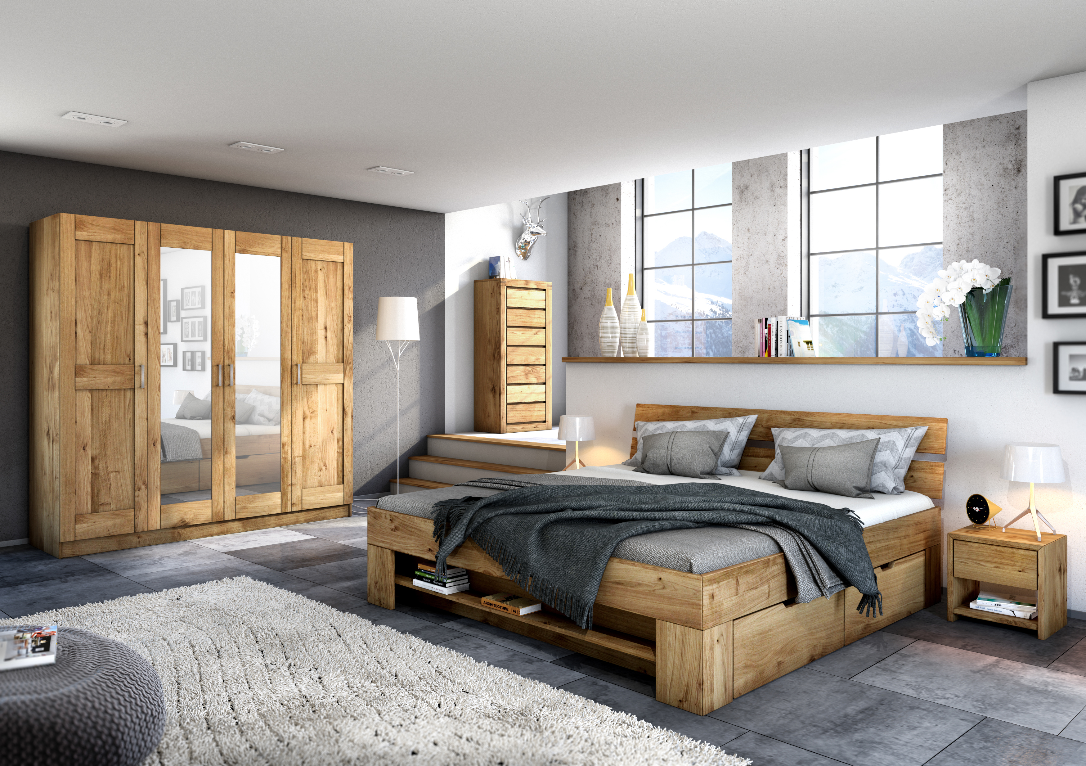 elfo kleiderschrank toni 4s wildeiche teilmassiv 4t riger. Black Bedroom Furniture Sets. Home Design Ideas