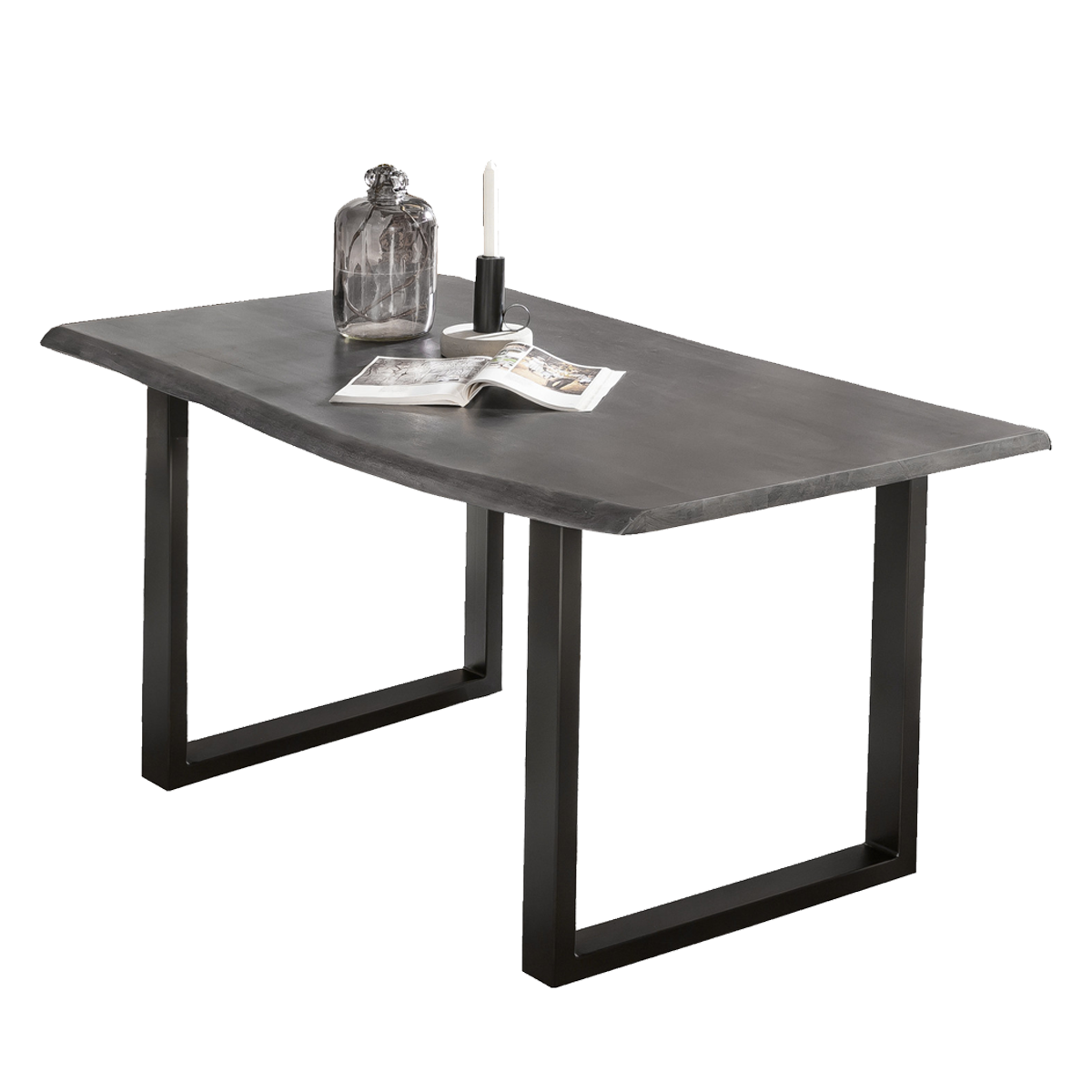 Sit Möbel Esstisch ca. 48 x 48 cm Tischplatte aus Massivholz antikgrau  Baumkante Gestell schwarz - yatego.com