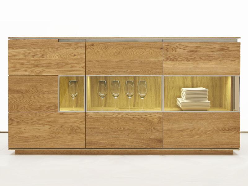 Wimmer Acerro Sideboard Massivholz Glasfüllung Und Eckglasfüllung