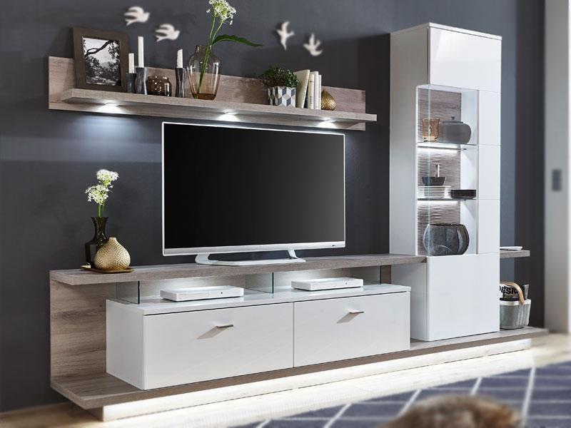 IDEAL Möbel Wohnwand Nuna Kombination 12 Moderne 5 Tlg. Wohnkombination Für  Ihr Wohnzimmer