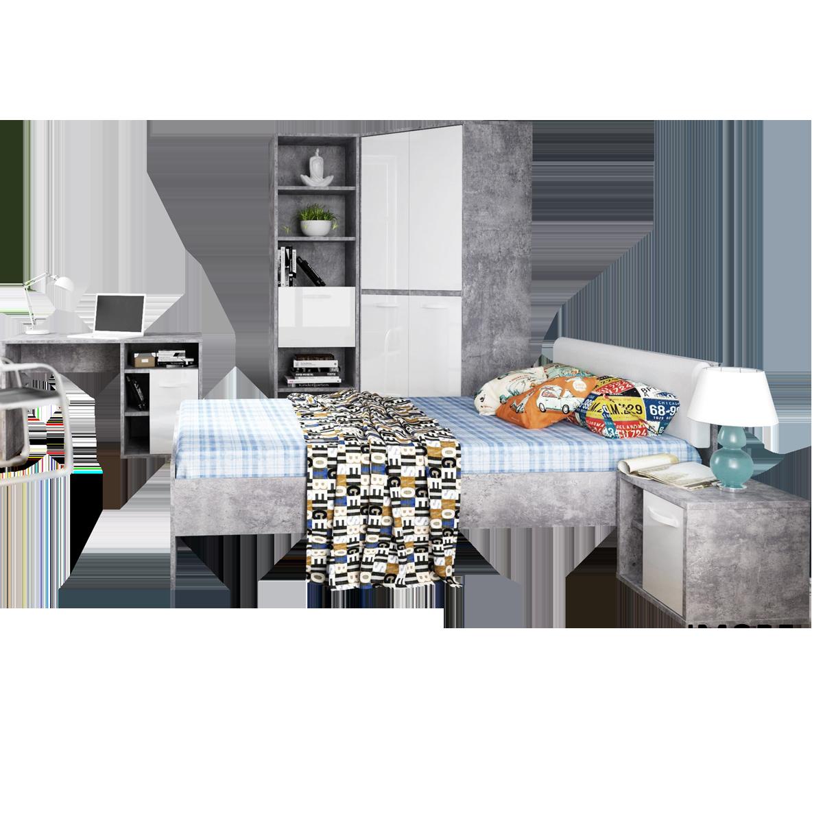 Forte Canmore Jugendzimmer 5-teilig mit Bett Liegefläche ca. 120x200cm  Nachttisch Eck-Kleiderschrank Regal und Schreibtisch Jugendzimmer-Set mit  ...