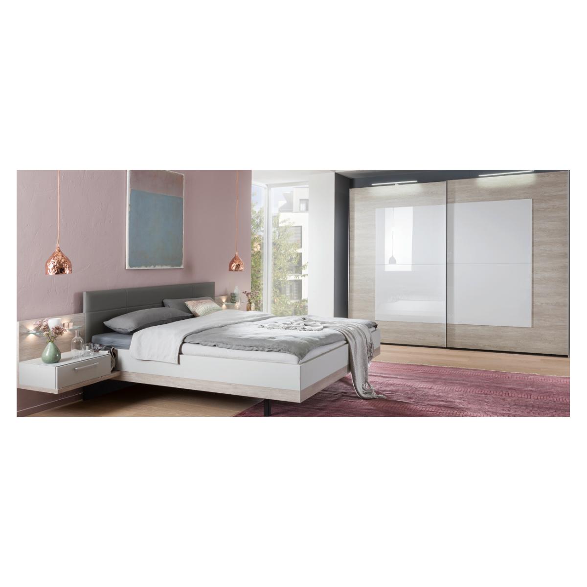 Nolte Möbel Novara Schlafzimmer bestehend aus Schwebetürenschrank 2-türig  Doppelbett mit Polster-Kopfteil Kunstleder Seidengrau Liegefläche ca. 180 x  ...