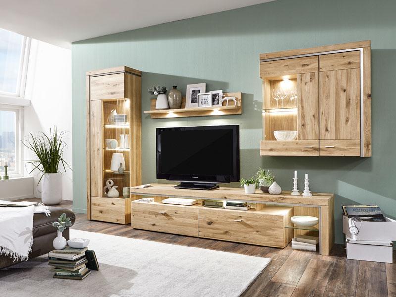 moderne wohnwand im wohnzimmer, ideal-möbel wohnwand bruni kombination 03 moderne teilmassive, Design ideen