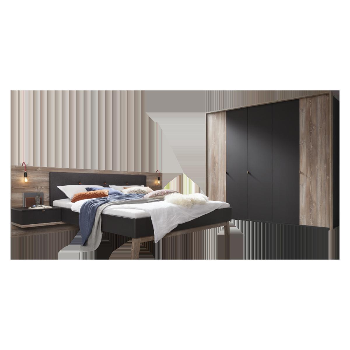 Nolte Möbel Cepina Schlafzimmer-Kombination 2-teilig mit 5-türigem  Drehtürenschrank und Bettanlage mit Liegefläche von ca. 180 x 200 cm  Ausführung ...