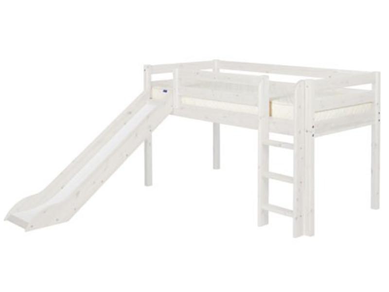 halbhohes bett 90x200 cm flexa kinderbett flexa classic mit senkrechter leiter rutsche und. Black Bedroom Furniture Sets. Home Design Ideas