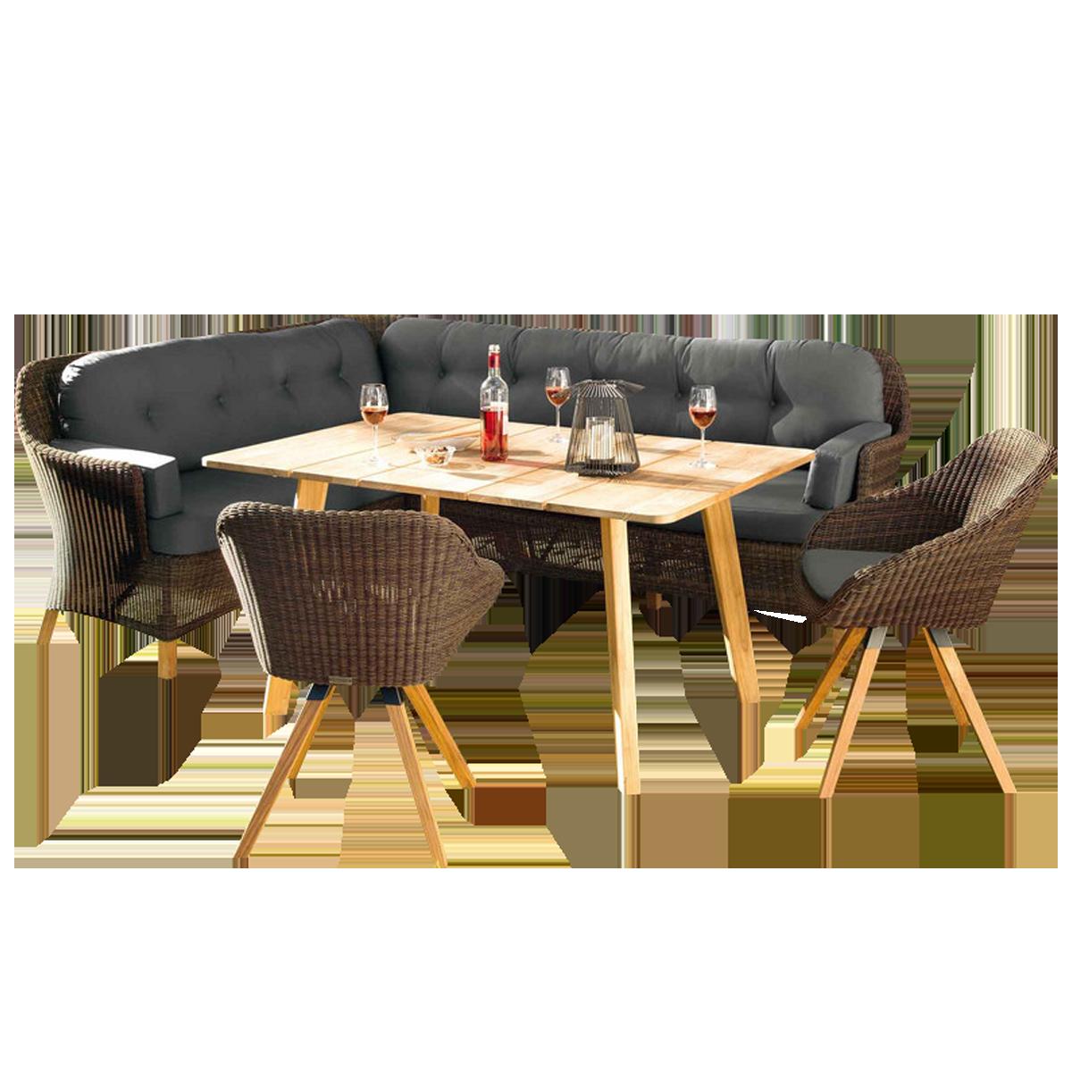 Niehoff Garden Nizza Loungegruppe Mit Dining Lounge Und Zwei Stuhlen Mit Geflecht In Viro Red Pine Und Mit Tisch In Teak Massivholz 6 Teiliges