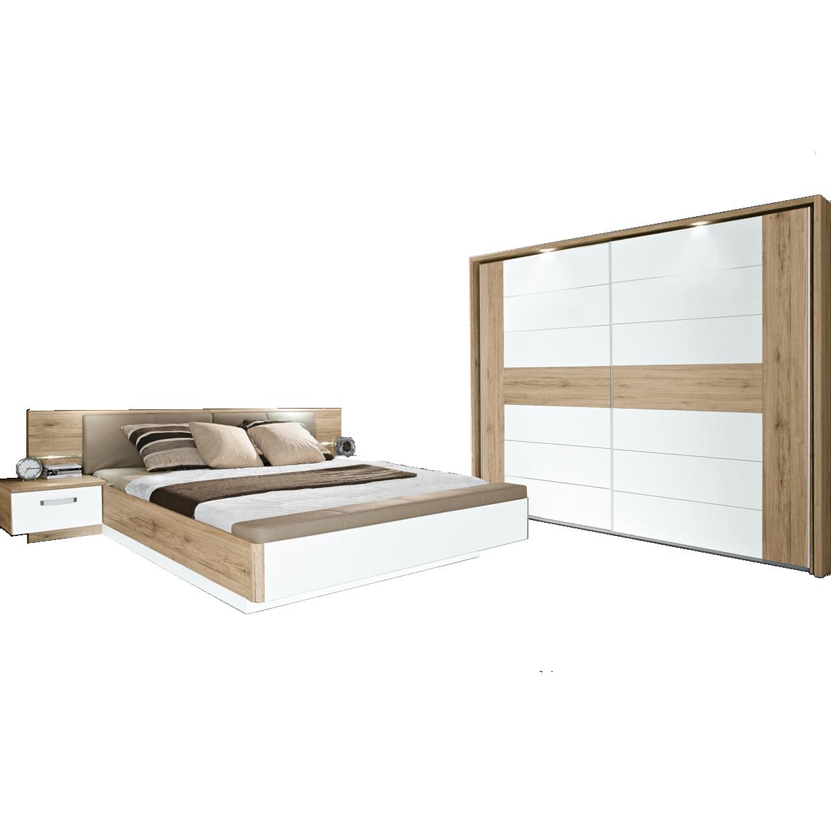 Forte Schlafzimmer Rondino 13-teilig bestehend aus Bettanlage RDNL13B  Liegefläche ca. 13x1300cm und Schwebetürenschrank 13-türig Bett inkl. ...