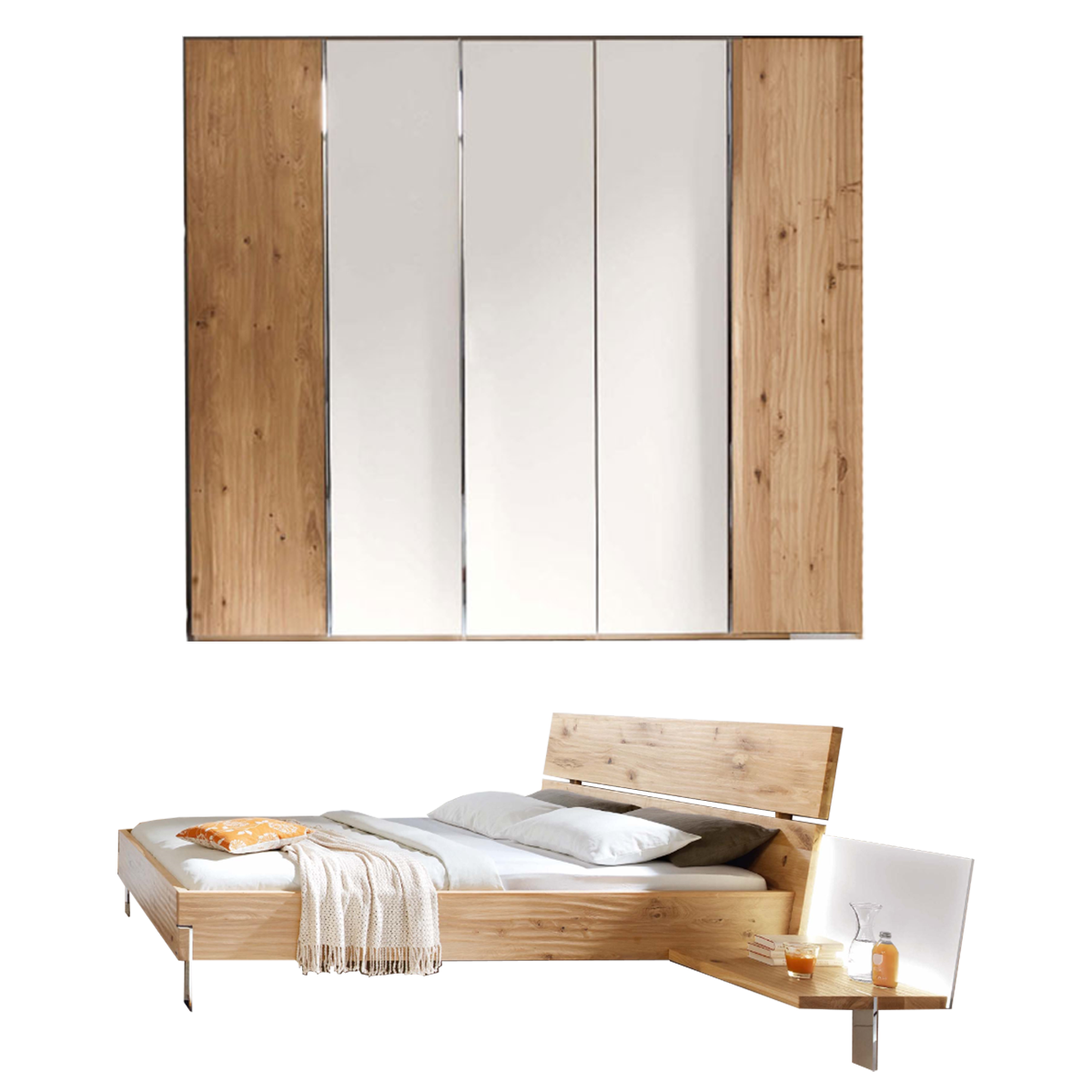 Thielemeyer Loft 2-teiliges Schlafzimmer Ausführung Eiche  Komfort-Liegenbett mit Holzkopfteil in Massivholz Liegefläche ca. 180 x 200  cm 5-türigem ...