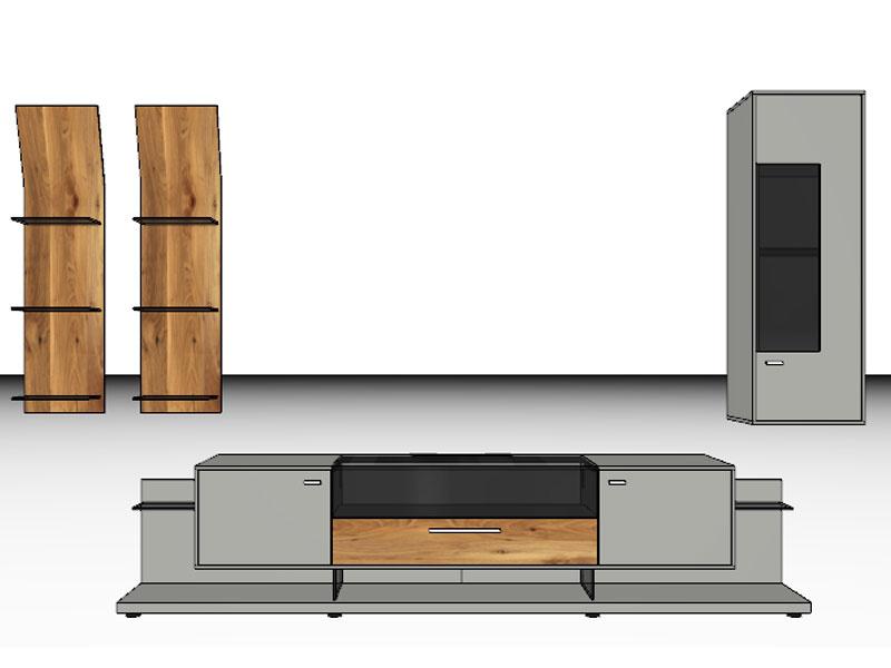 Gwinner Mediaconcept Kombination MC902 Oder Seitenverkehrt MC902 SV  Wohnwand Für Wohnzimmer Ausführung Korpus Und Front ...