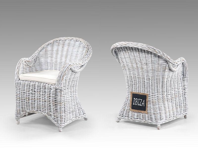 Die Faktorei by Infantil Natur-Rattan Sessel IBIZA weiß im Shabby Chic,  inklusive Sitzkissen