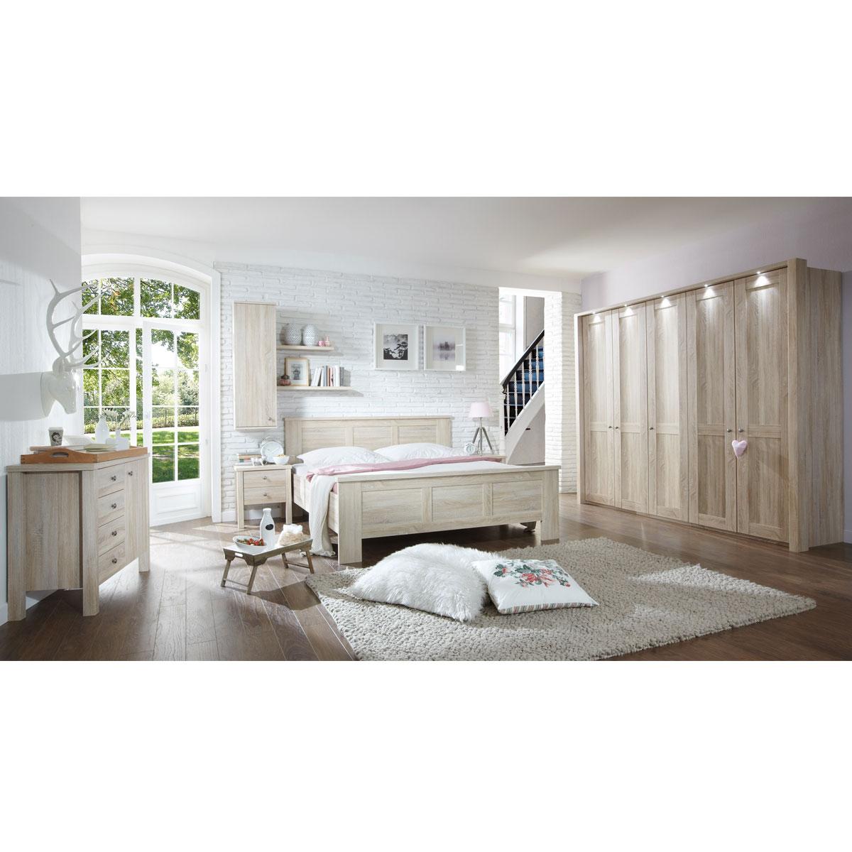 Wiemann Bergamo Schlafzimmer-Kombination 6-teilig bestehend aus  Kleriderschrank 5-türig sowie Bett mit Liegeflächen von ca. 180 x 200 cm  inklusive 2 ...