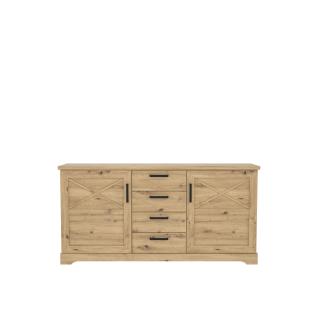 Forte Rockhampton Sideboard RHPK231 für Ihr Wohnzimmer oder Esszimmer mit zwei Türen und vier Schubkästen Dekor Artisan Eiche Holznachbildung
