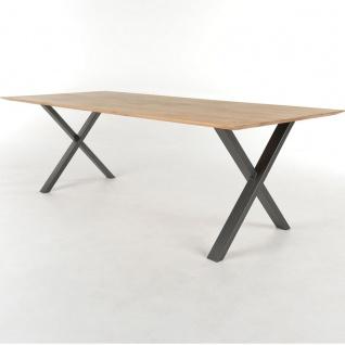 Bert Plantagie Tisch Xam Tischplatte Eiche massiv geölt mit X-Gestell in anthrazit Esstisch mit fester Platte ohne Funktion für Esszimmer Tischgröße wählbar
