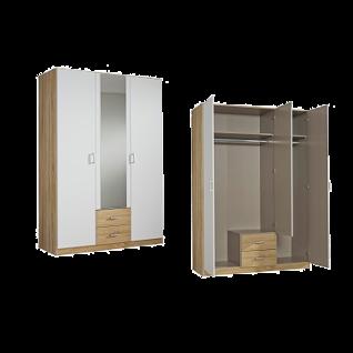 Rauch Packs Point Drehtürenschrank 3- türig mit 1 Spiegeltür und 2 Schubkästen Farbausführung alpinweiß mit Absetzungen Dekor- Druck Eiche Sonoma