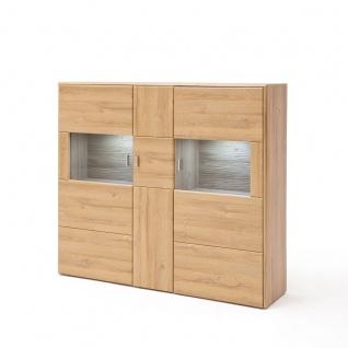 MCA Furniture Florenz Highboard T05 für Ihr Wohnzimmer oder Esszimmer mit einer Holztür und zwei Glastüren Anrichte in Grandson Oak Nachbildung Beleuchtung wählbar