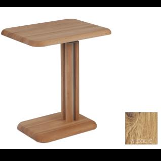 Vierhaus Couchtisch 7887-WEIX Platte Gestell und Bodenplatte Wildeiche Massivholz geölt Höhenverstellung mit Rollen **AM LAGER**