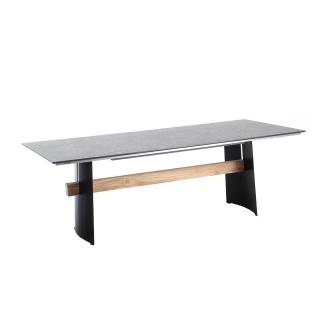Niehoff Garden Brava Designtisch G5T1 mit HPL-Tischplatte in wählbarer Ausführung und mit Stahlwangen schwarz mit Teaksteg für Ihren Garten Größe wählbar