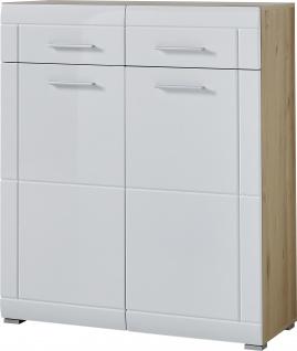Germania Neapel Schuhschrank 3516-231 zwei Türen und zwei Schubladen Dekor Weiß Hochglanz und Edelbuche Nachbildung Schrank für Garderobe