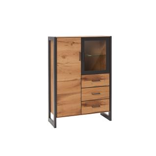 Elfo-Möbel Janne Vitrine 2263 mit drei Türen und drei Schubkästen Korpus und Front Balkeneiche furniert Absetzung MDF graphitgrau mit Metallgestell