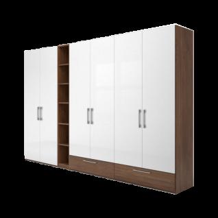 Nolte concept me 100 Kleiderschrank 6-türig mit 2 Sockelschubkästen und offenem Regal- Türen Hochglanz weiß - Korpus und Schubkästen in Macadamia-Nussbaum Nachbildung