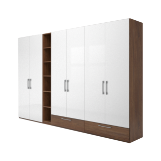 Nolte Möbel Concept Me 100 Drehtürenschrank 6-türig 2 Sockelschubkästen offenem Regal Türen Hochglanz weiß Korpus Schubkästen - Vorschau 1