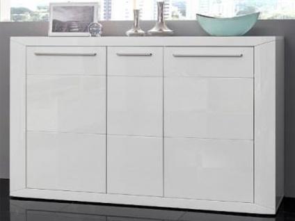 MCA Direkt Sideboard Padua Front weiß Hochglanz Korpus in weiß Melamin für Wohnzimmer oder Esszimmer
