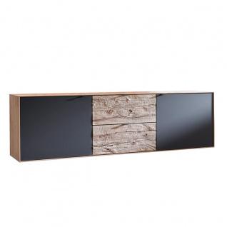 Hartmann Talis Sideboard 3204 mit Türen aus Mattglas anthrazit Schubkästen aus Massivholz Riffbuche
