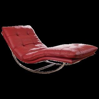 Willi Schillig Relaxliege Daily Dreams 47002 mit serienmäßiger Kopfstützenverstellung per Rasterfunktion im exklusiven Echtlederbezug ruby red und mit einem hochwertigen Schaukelgestell in Chrom glänzend