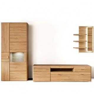 MCA Furniture Florenz Wohnkombination 3 für Ihr Wohnzimmer 3-teilige Wohnwand mit Kombi-Vitrine Lowboard und Wandregal Kombination in Grandson Oak Nachbildung Beleuchtung wählbar