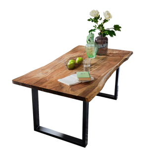 Sit Möbel Esstisch ca. 200 x 100 cm massive Tischplatte nussbaumfarbig Gestell schwarz lackiert
