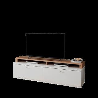 Ideal-Möbel Falan Lowboard-Kombination bestehend aus Unterteil Type 32 und TV-Aufsatz Type 62 für Ihr Wohnzimmer modernes Medienelement mit zwei Schubkästen und zwei offenen Fächern Korpus und Front Weiß TV-Aufsatz Eiche Artisan Folie