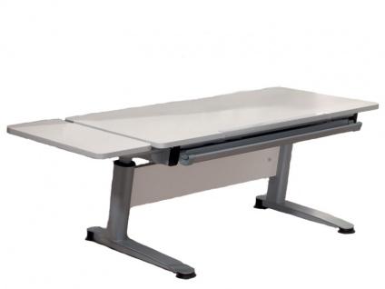 Paidi Schoolworld Falko Schreibtisch Plattenausführung Ecru Gestell silberfarbig optional mit Anbau 75 und Schubkastenvollauszug - Vorschau 2