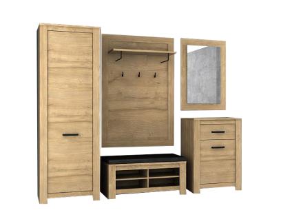FORTE Havanna Garderobenset HVND011L für Ihren Flur 5-teilige Garderobe mit 1 Kleiderschrank 2 Schuhschränken 1 Kleiderpaneel und 1 Spiegel Front und Korpus Alteiche Nachbildung