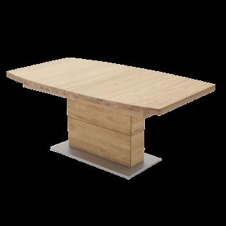 MCA furniture Esstisch Corato mit ausziehbarer Tischplatte in Bootsform Wildeiche Säulengestell Bodenplatte silberfarbig lackiert