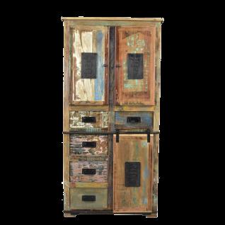Sit Möbel JUPITER Schrank braun aus recycelte Altholz bunt lackiert mit Metall